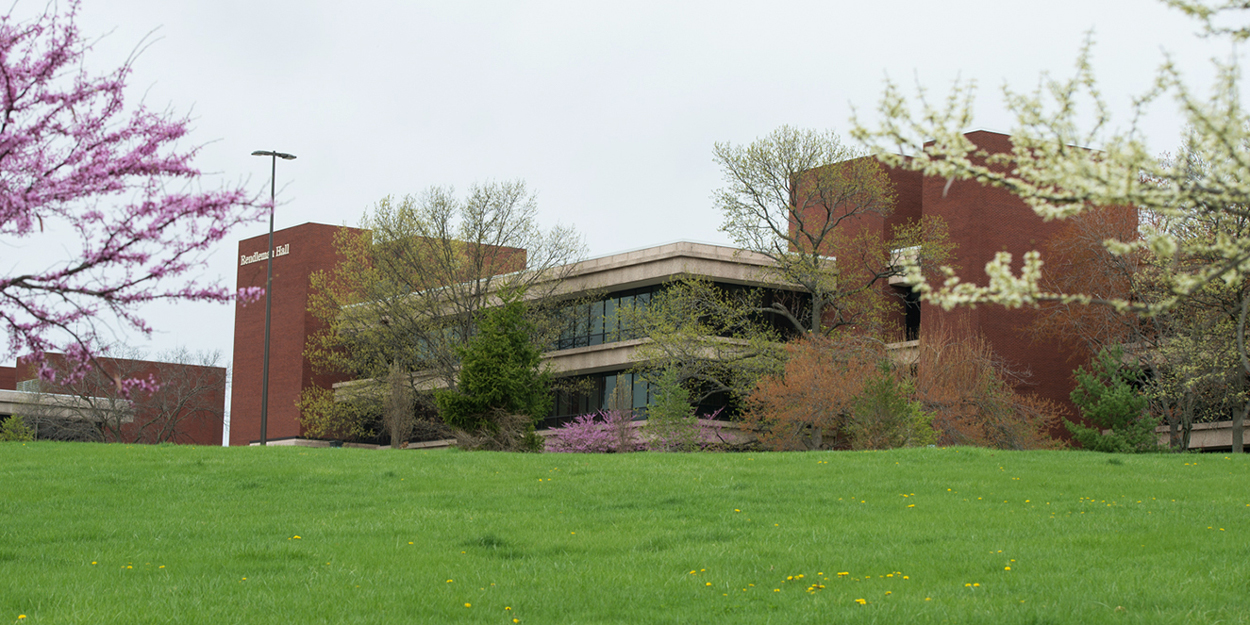 Rendleman Hall at SIUE in spring.