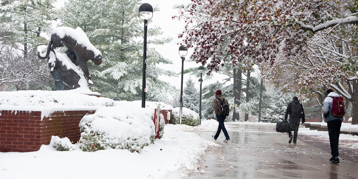 Student walking on the Stratton Quadrangle during a snowy winter day..