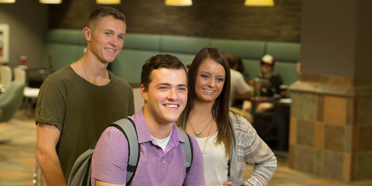 Three students in the Morris University Center at SIUE.