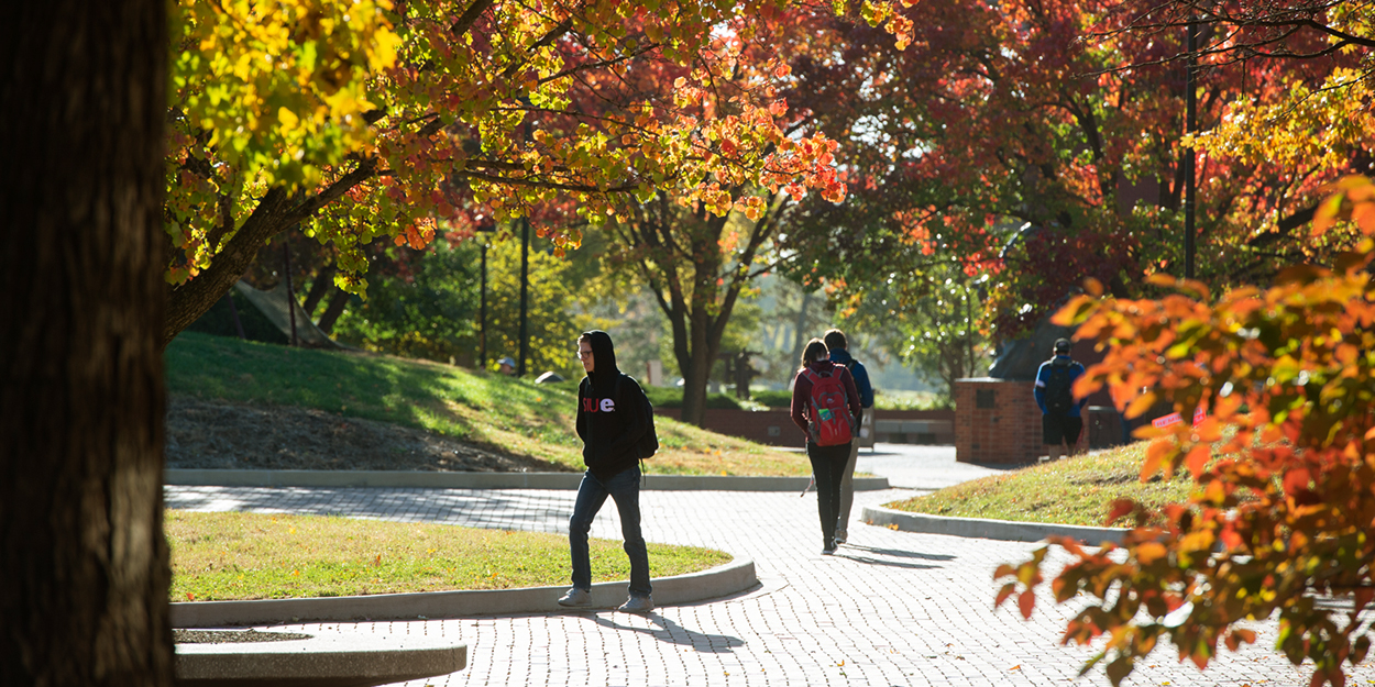 Students walking on a crisp fall morning on SIUE's Stratton Quadrangle.