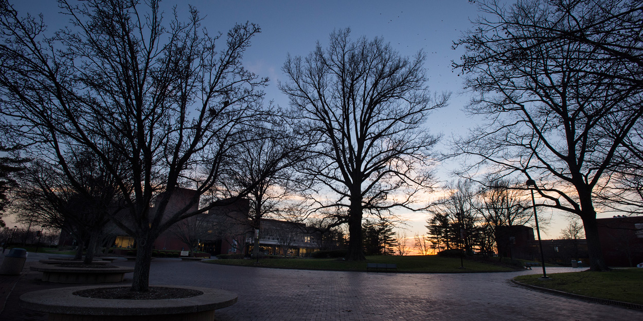 The SIUE Stratton Quadrangle facing southwest after after the sun has set behind the Morris University Center.