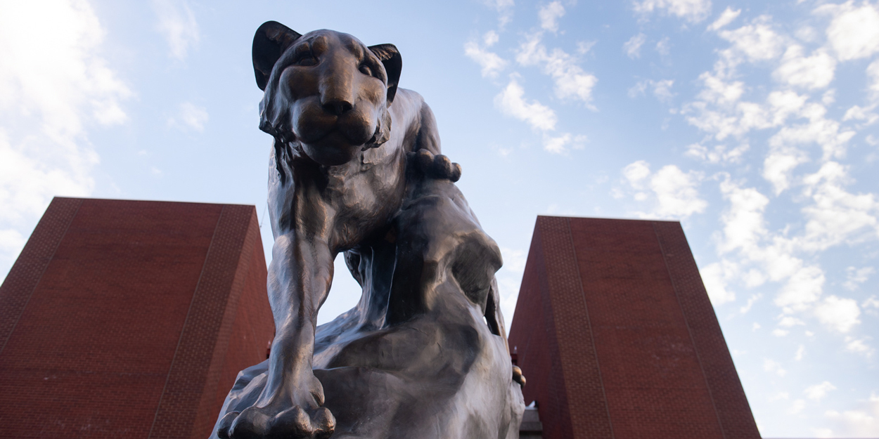 SIUE Cougar Statute in front of the Morris University Center