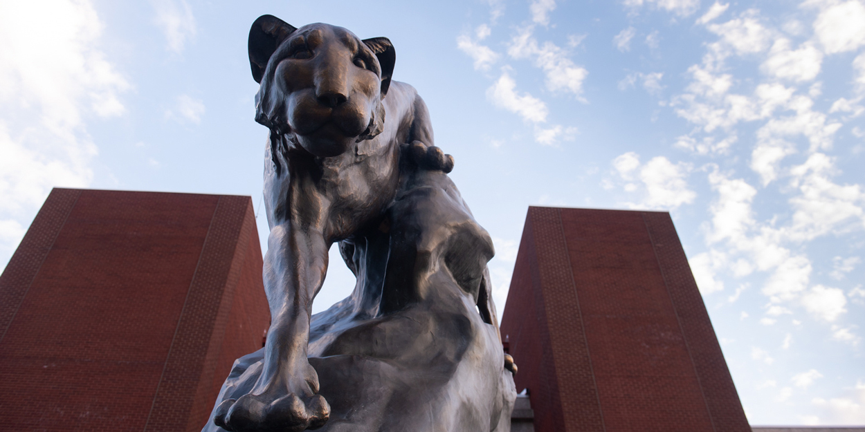 The SIUE Cougar Statue on the Stratton Quadrangle on the SIUE Campus.