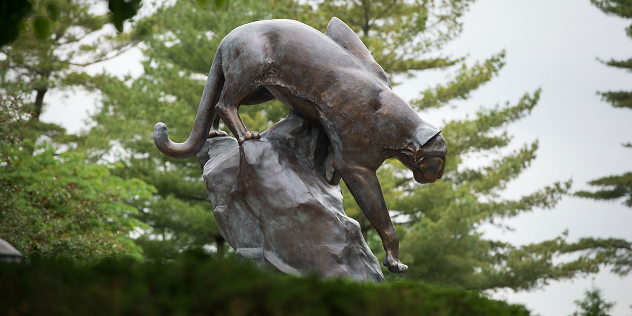 The Cougar Statue in front of SIUE's Morris University Center.