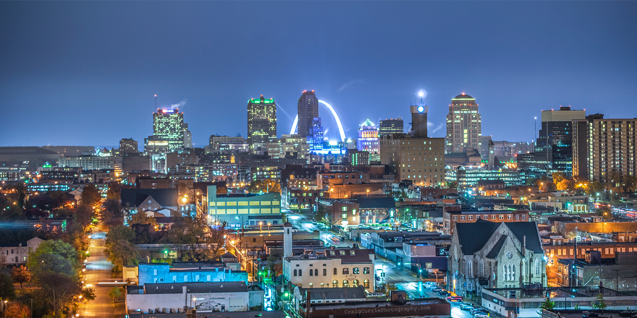View of downtown St. Louis during the night.