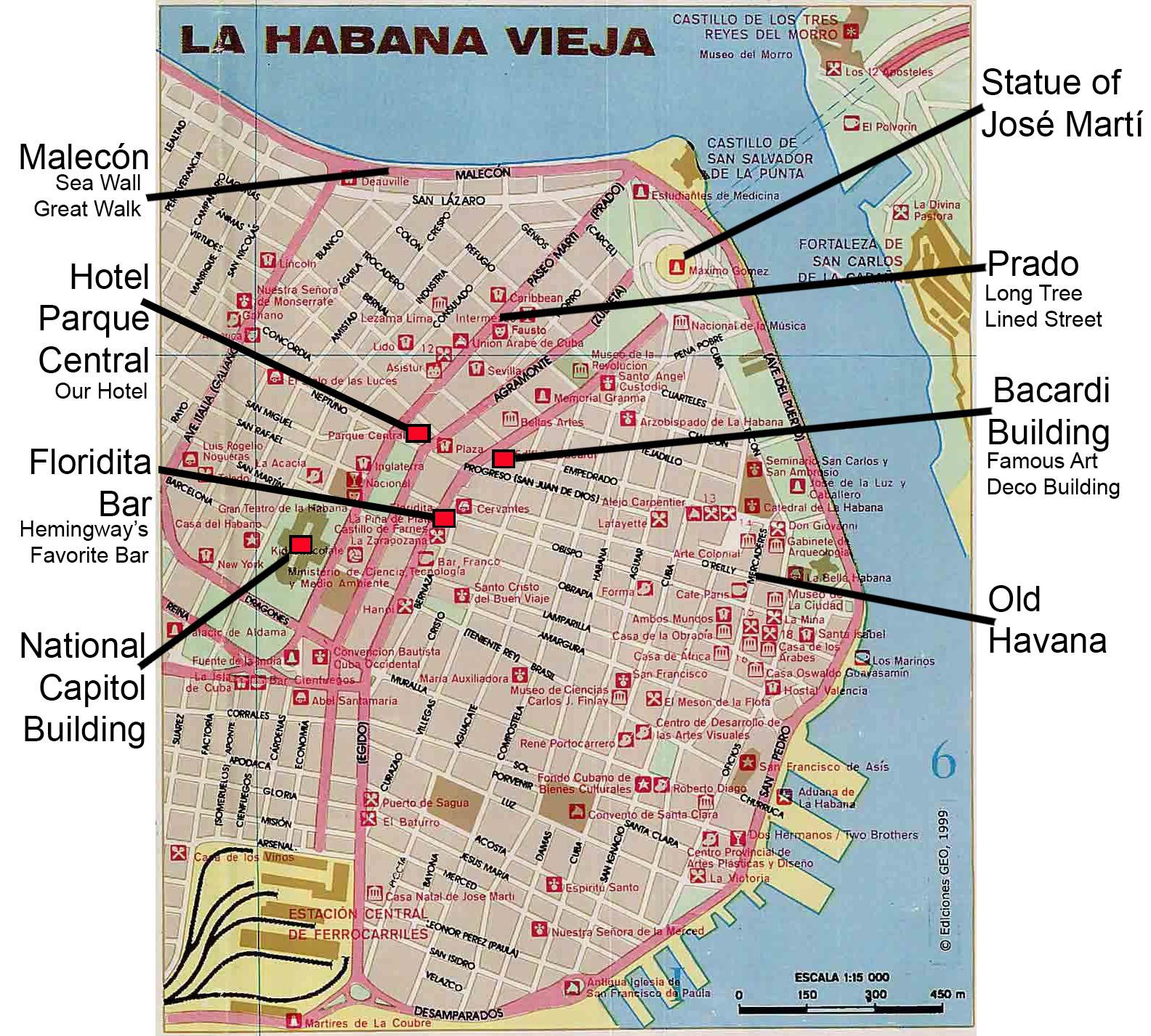 Туристическая карта Гаваны (Cuba)
