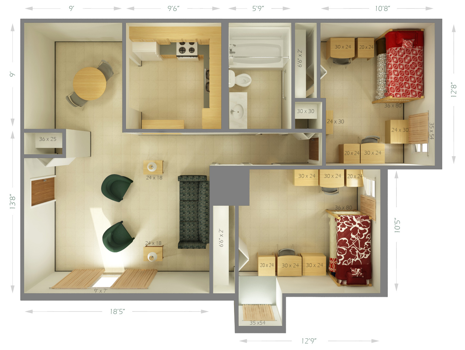 University housing cougar village room dimensions siue for Furniture university village