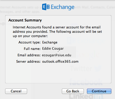 apple mail exchange account summary