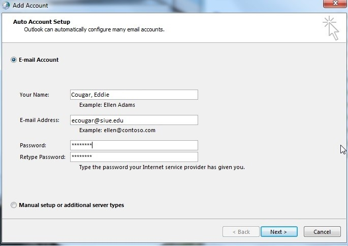 outlook 2010 2013 add account details