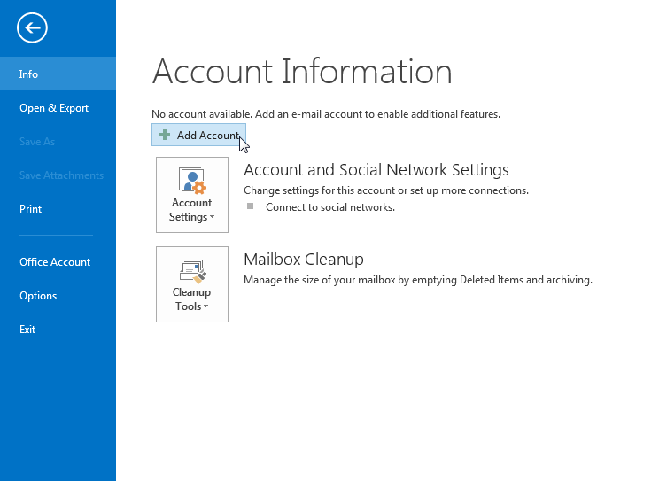 outlook 2010 2013 add account
