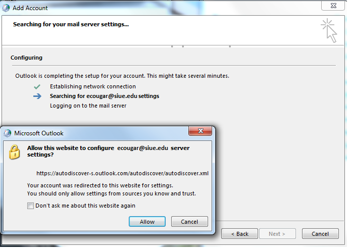 outlook 2010 2013 server settings confirmation