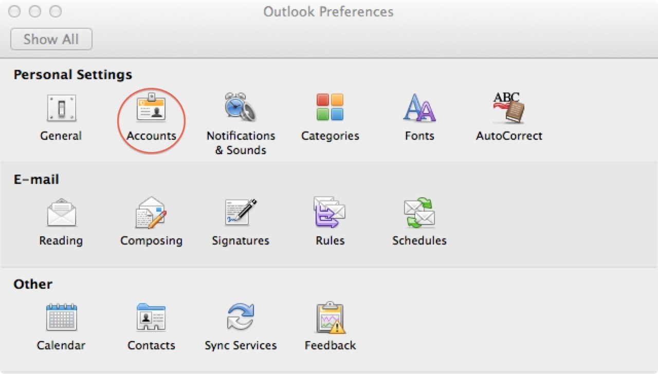 outlook 2011 accounts icon