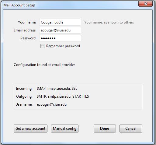 thunderbird mail account setup