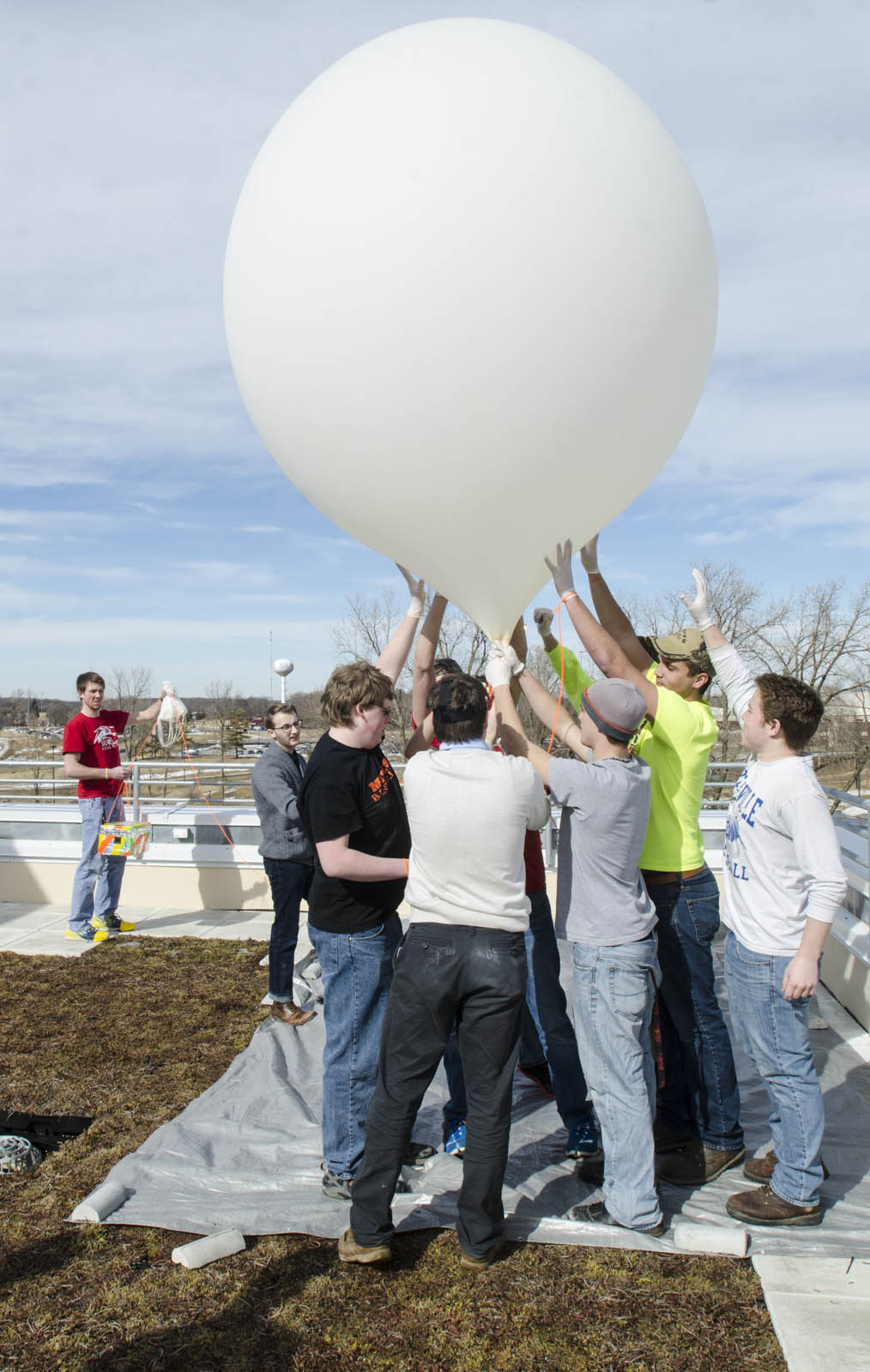 Engineering Students with a weather balloon.