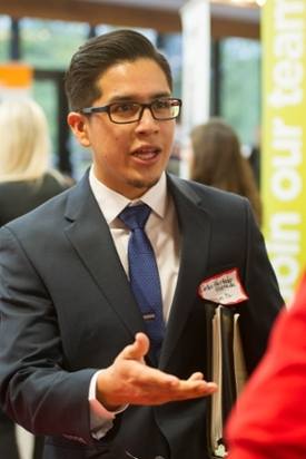 Carlos Hurtado-Estrada, a fourth-year School of Pharmacy student, networked and distributed his resume to employers.
