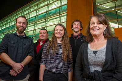 Members of the travel team, including SIUE students (L-R) Julian Chastain, Alejandro Alvarez, Sarah Lepp, Caleb Mau and Mustard Seed Peace Project President Terri Cranmer.