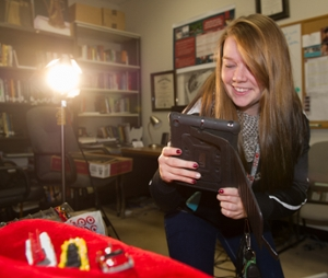 SIUE student Mikaela Cotter completes a portion of her final exam using the AR Exam app.