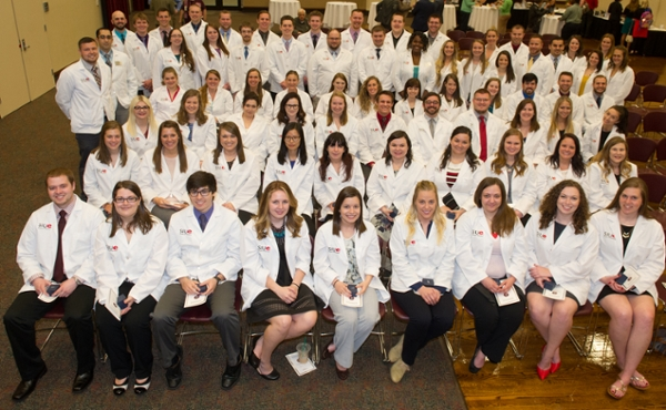 SIUE School of Pharmacy year three students at their Pinning Ceremony.