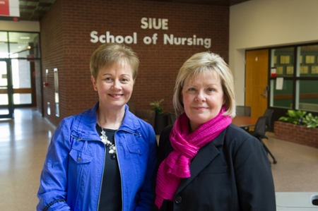 (L) Dr. Kathy Ketchum, assistant dean for graduate programs in the SIUE School of Nursing and (R) Dr. Janice Joplin, associate dean in the SIUE School of Business.