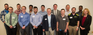 (Back L-R)Andrew Steinberg, Joe Randazzo, Forrest Knight, William Couri, Clayton Paulsmeyer, Darren Roback, Hailu Balla; (Front L-R) Peter Clemens, Jesse Hansen, Josh Borwey, Adam Arras, James Nippert, Michael Ealy and Dr. Andrea Hester, assistant professor in the Department of Computer Management and Information Systems in the SIUE School of Business.