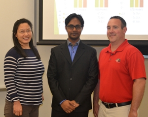 (L-R) Md Atiquzzaman (middle) poses with his advisor Dr. Yan Qi (L) and Dr. Ryan Fries (R), associate professor of civil engineering at SIUE.