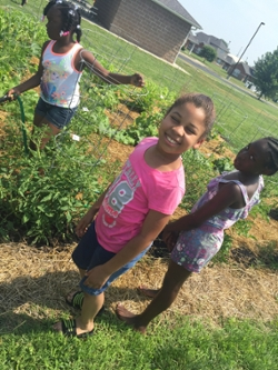 (L-R) Wilniya, Zarria and Shalise water the community garden they planted.