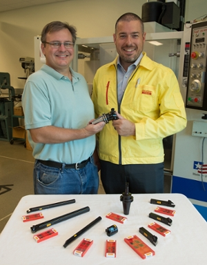 (L-R) John Deibert, mechanical and industrial engineering laboratory manager at SIUE and Jay Stephens, territory productivity engineer with the Sandvik Coromant Company.