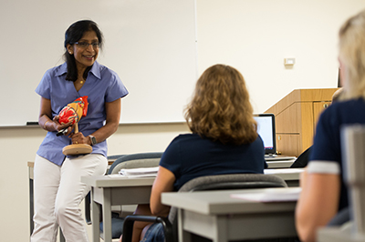 Dr. Chaya Gopalan, SIUE STEM Center faculty fellow, teaches a biology course at SIUE.