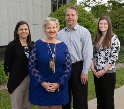 (L-R) SIUE graduate student Allison Benware, Nancy Cooper, chief probation officer in the MCSCDT, Dr. Jeremy Jewell, and SIUE graduate student Janna Belgard.