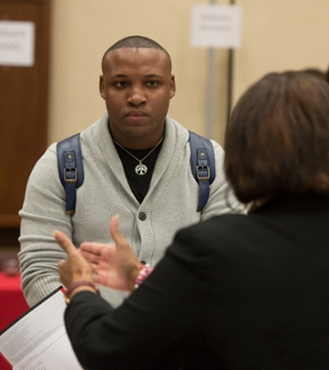 Nathan Brown Jr., of Chicago, inquired about the college student personnel administration program during the SIUE Graduate School Open House.