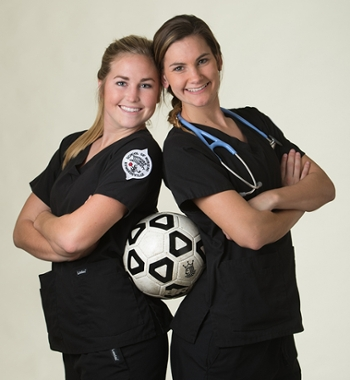 (L-R) SIUE women's soccer team members and juniors in the School of Nursing Caroline Hoefert and Lindsey Fencel.