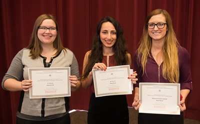 Winners of the scholarly activity SLAM were (L-R) Melissa Beyer (first place), Anahid Omran (second place), and Molly McCready (people's choice).
