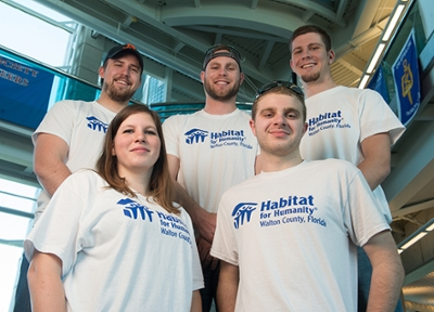 Six members of the SIUE School of Engineering's Constructor's Club spent spring break in Florida, helping build homes with Habitat for Humanity.