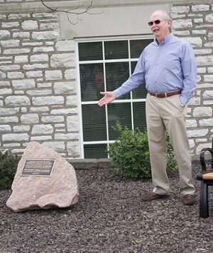 Dr. David Jenkins expresses his appreciation for the dedicated landscape features in his name during a surprise ceremony held Tuesday, April 11.