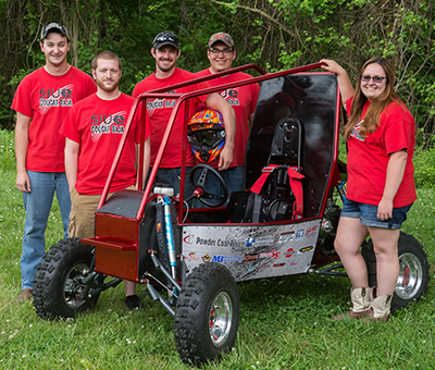 SIUE Cougar Baja team members include (L-R) Adam Brocksieck, of Quincy, Tim Talbert, of Hebron, Seth Kirchner, of Chillicothe, Tim Koehler, of Mt. Pulaski, and Alexandra Turner, of Lincoln.