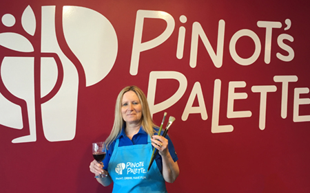 Jane Seymour, owner of Pinot's Palette in Edwardsville.