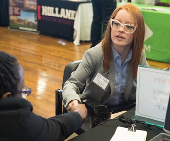 Lauren Hammel, a senior engineering student from Highland, explored employment opportunities during the Fall Career Fair.