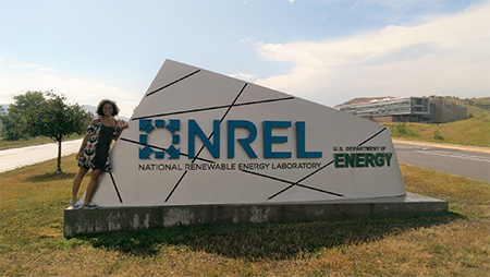 Noyce scholar Breanna Blackwell poses in front of the National Renewable Energy Laboratory (NREL) in Goldon, Colo.