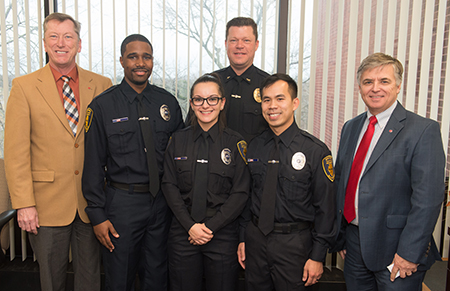 (L-R) SIUE Vice Chancellor for Administration Rich Walker, Kasey Hoyd, Lindsey Rice, Police Chief Kevin Schmoll, Xac Vo and Chancellor Randy Pembrook.