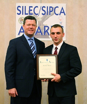 (L-R) SIUE Police Chief Kevin Schmoll and Officer Dylan Koke, recipient of the