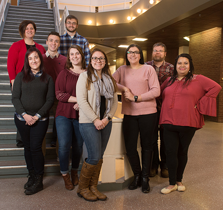 SIUE's Dr. Sarah Conoyer (far left) stands with student researchers (L-R) Shelbi Simmons, Brenden Shelton, Tyler Simpson, Jennifer Robbins, DeAnna Scully, Nicole Ties, Bradley Peradotto and Gabrille Ellis.