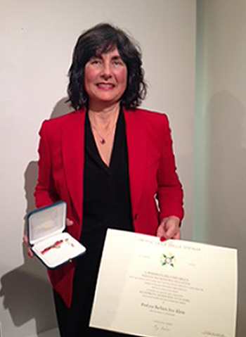 SIUE non-credit Italian instructor Barbara Klein, founder and president of the Italian Film Festival USA, received the Knight of the Order of the Star of Italy.