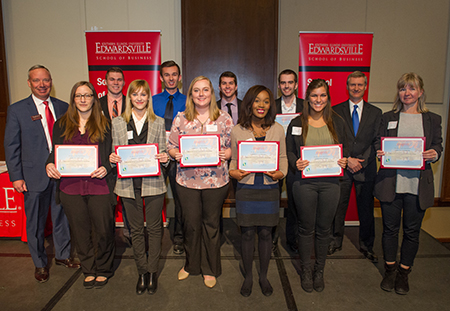 TheBANK of Edwardsville's Robert Schwartz (far left) stands alongside all 10 SIUE students receiving TheBANK of Edwardsville Scholarship, as well as School of Business Interim Dean Tim Schoenecker, PhD (far right).