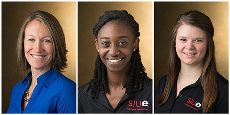 (L-R) SIUE Campus Recreation's Amanda Couch, Estelle Gyimah and Kari Kolle.