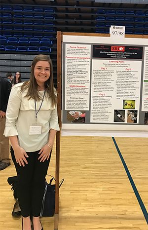 SIUE senior Ashley Farthing earned first place in the STEM Education category for her poster presentation at the Illinois State Academy of Science's Annual Meeting in April.