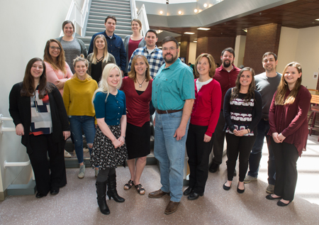 Graduate students in SIUE's industrial-organizational psychology program surround faculty members (front center L-R) Elora Voyles, PhD, Catherine Daus, PhD, program director Joel Nadler, PhD, and Lynn Bartels, PhD.
