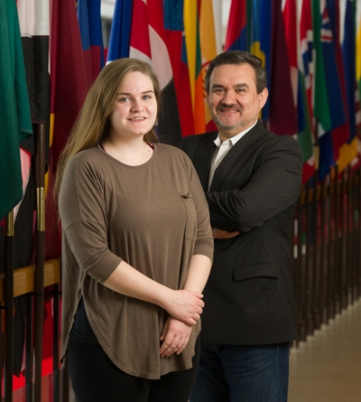 SIUE international studies student has been competitively selected to attend the Young Leaders Congress in Washington, D.C. She stands alongside Sorin Nastasia, PhD, associate professor and international studies program director.