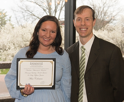 Public health major Mica Coleman was recognized at the SEHHB Honors Celebration with the Academic Achievement in memory of Lindsey Arnold-Zimmer and Riley William Zimmer scholarship.