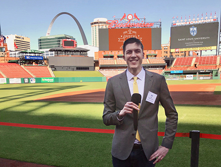 SIUE senior computer science major Eli Ball competed in SLU's Pitch & Catch Investor Pitch Deck Competition at Busch Stadium.