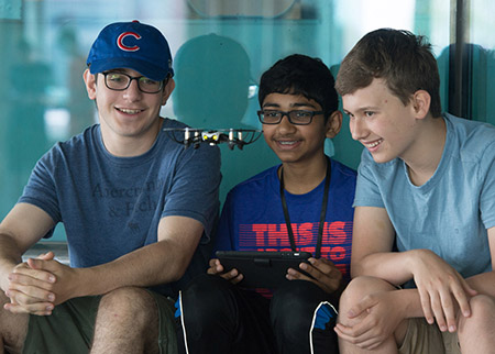 Programming a drone during SIUE's Engineering Camp are (L-R) Phil Gokhman, of Chicago, Ishan Shah, of Chicago, and Orion Gregory, of Glen Carbon.